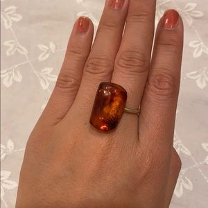 Real Baltic amber silver metal ring cute